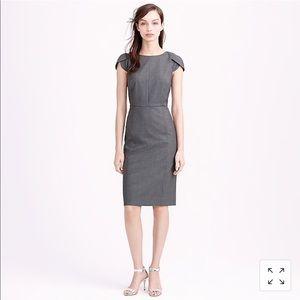 J. Crew Grey Stretch Wool Petal Sheath Dress 0